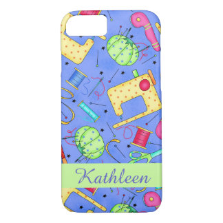 Periwinkle Blue Sewing Notions Name Personalized iPhone 8/7 Case