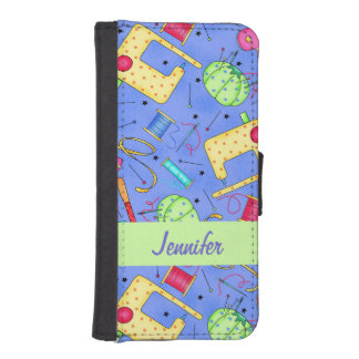 Periwinkle Blue Sewing Notions Name Personalized Phone Wallets
