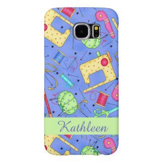 Periwinkle Blue Sewing Notions Name Personalized Samsung Galaxy S6 Case