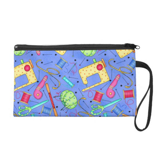 Periwinkle Blue Sewing Notions Wristlet Clutch