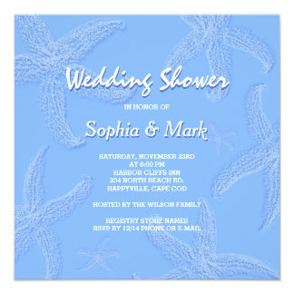 Periwinkle Blue Starfish Wedding Shower Invitation