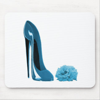 Periwinkle Blue Stiletto Shoe and Rose Mouse Pad