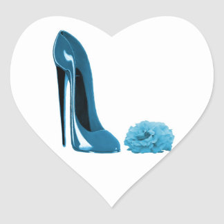 Periwinkle Blue Stiletto Shoe and Rose Heart Stickers
