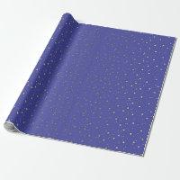 Periwinkle Blue Tiny Golden Stars Wrap Paper
