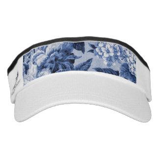 Periwinkle Blue Vintage Floral Toile Fabric No.1 Visor