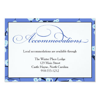 """Periwinkle Blue Wedding Accommodations Card 3.5"""" X 5"""" Invitation Card"""