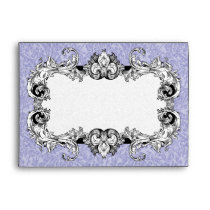 Periwinkle Blue & White A7 Gothic Baroque Envelope