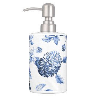 Periwinkle Blue & White Botanical Floral Toile No2 Soap Dispenser And Toothbrush Holder