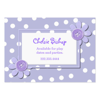 Periwinkle Blue & White Polka Dots Play date card Large Business Cards (Pack Of 100)
