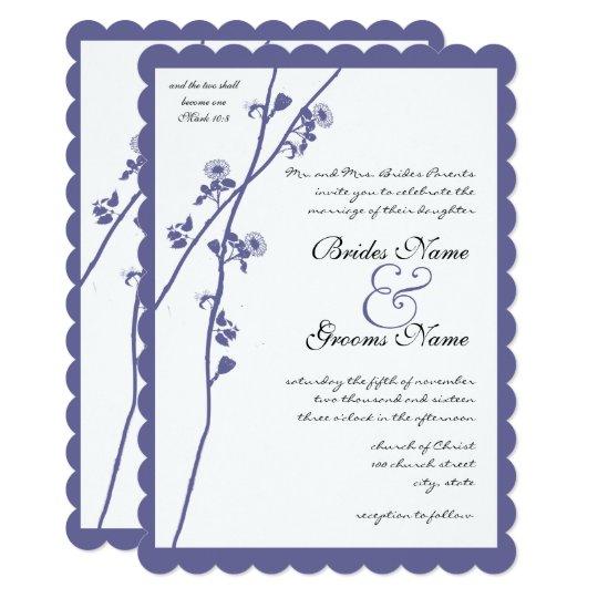 Periwinkle Blue Wildflower Branch Wedding Card