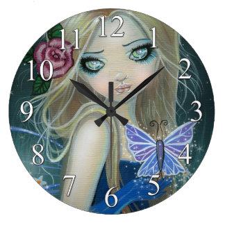 Periwinkle Butterfly Fairy Fantasy Art Wall Clock