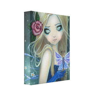 Periwinkle Butterfly Fairy Wrapped Canvas Print