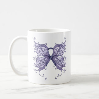 Periwinkle Cancer Ribbon with Butterfly Wings Coffee Mug