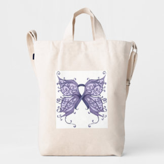 Periwinkle Cancer Ribbon with Butterfly Wings Duck Bag