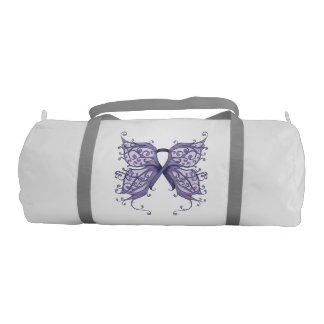 Periwinkle Cancer Ribbon with Butterfly Wings Duffle Bag