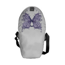 Periwinkle Cancer Ribbon with Butterfly Wings Messenger Bag