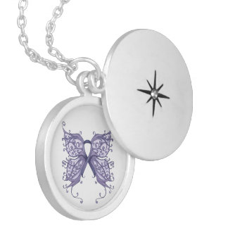 Periwinkle Cancer Ribbon with Butterfly Wings Round Locket Necklace