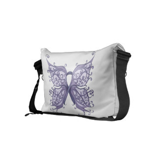 Periwinkle Cancer Ribbon with Butterfly Wings Small Messenger Bag