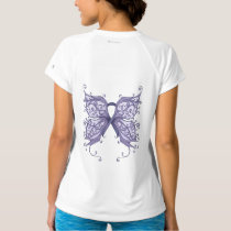 Periwinkle Cancer Ribbon with Butterfly Wings T-Shirt