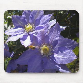 Periwinkle Clematis and Bee mousepad