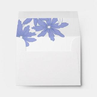 Periwinkle Daisies Wedding RSVP Response Card Envelope