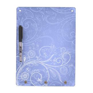 Periwinkle Floral Swirl Dry Erase Board