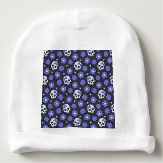 Periwinkle Flower Power Skulls Baby Beanie