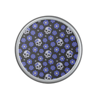 Periwinkle Flower Power Skulls Bluetooth Speaker