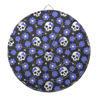 Periwinkle Flower Power Skulls Dartboard With Darts
