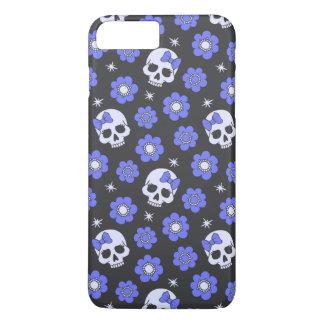Periwinkle Flower Power Skulls iPhone 7 Plus Case