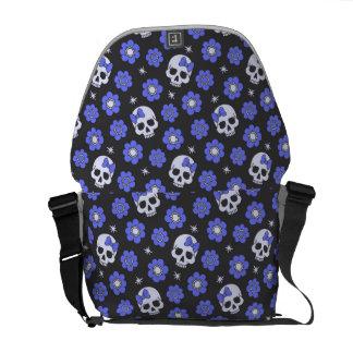 Periwinkle Flower Power Skulls Messenger Bag