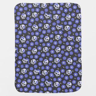 Periwinkle Flower Power Skulls Receiving Blanket