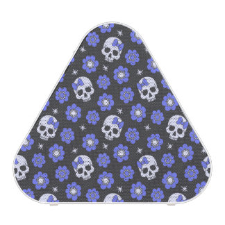 Periwinkle Flower Power Skulls Speaker