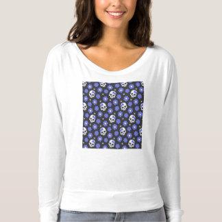 Periwinkle Flower Power Skulls T-shirt