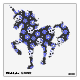 Periwinkle Flower Power Skulls Wall Sticker