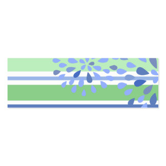 Periwinkle Green Stripes Flower Blossoms Design Double-Sided Mini Business Cards (Pack Of 20)