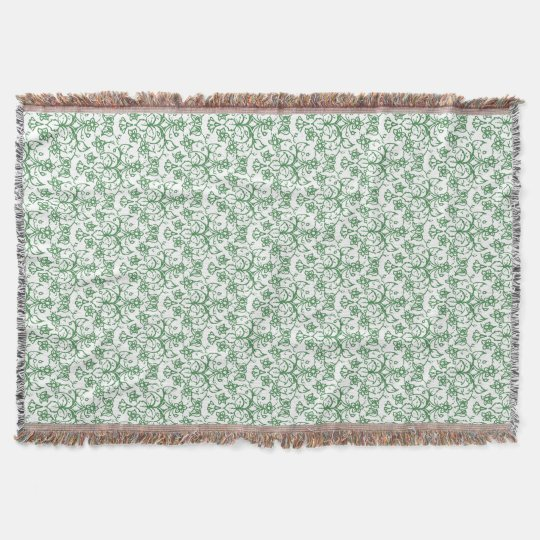 Periwinkle Green White Decorative Chic Floral Throw Blanket Zazzle Stunning Periwinkle Throw Blanket