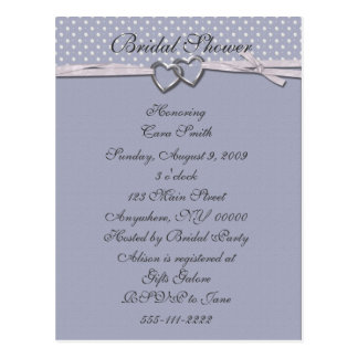 Periwinkle Hearts Bridal Shower Invitation Postcard