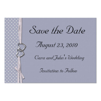 Periwinkle Hearts Save the Date Card Large Business Cards (Pack Of 100)