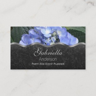 Periwinkle Hydrangea on Black Business Cards