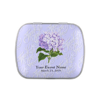 Periwinkle Hydrangeas Wedding Party Favors Jelly Belly Candy Tin