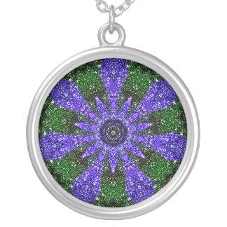 Periwinkle Kaleidoscope Round Pendant Necklace