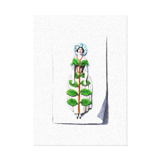 Periwinkle Lady Flower Painting Canvas Print