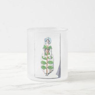 Periwinkle Lady Flower Painting 10 Oz Frosted Glass Coffee Mug