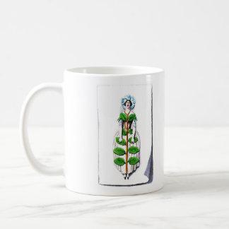 Periwinkle Lady Flower Painting Classic White Coffee Mug