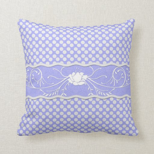 Periwinkle Lavender Blue and White Polkadot  Rose Pillow