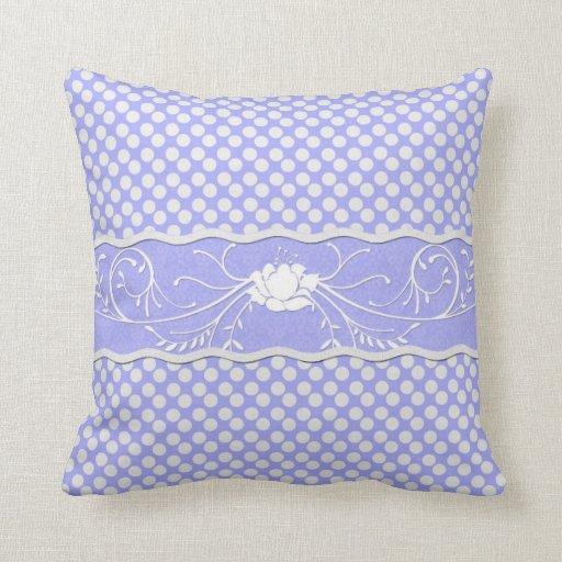 Periwinkle Lavender Blue and White Polkadot Rose Throw Pillow Zazzle