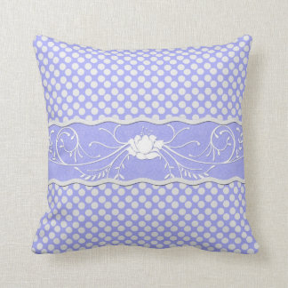 Periwinkle Lavender Blue and White Polkadot  Rose Throw Pillow