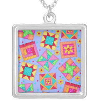 Periwinkle Lavender Quilt Patchwork Blocks Square Pendant Necklace