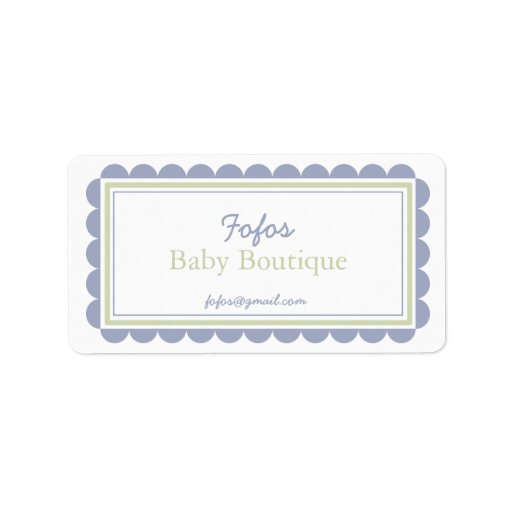 Periwinkle & Lime Frilly Bordered Company Labels